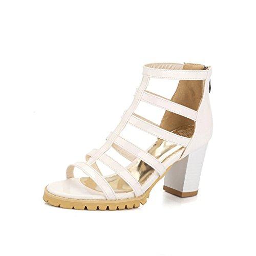 MRxcff Silver Sandals Summer High Heels Platform Shoes Woman Slip On Pumps Casual Women Shoes Size 35-43 XWZ3370 white - Vegas High Las Mile Shops