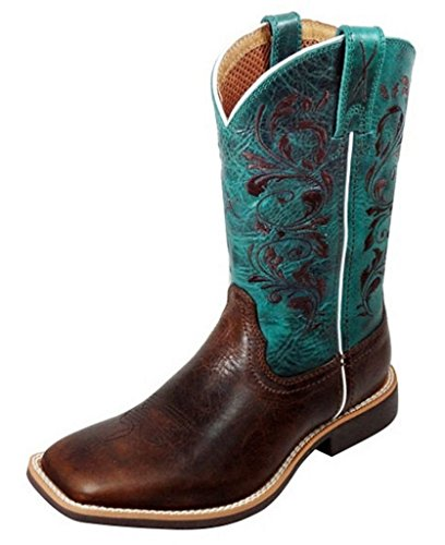 Twisted X Boots Children's YTH0008,Chocolate/Turquoise Leather,US 1.5 M by Twisted X Boots