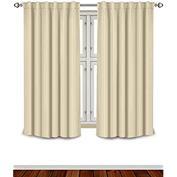 Blackout Room Darkening Curtains Window Panel Drapes - Beige Color 2 Panel Set, 52 inch wide by 63 inch long each panel- 7 Back Loops per Panel- 2 Tie Back Included - by Utopia Bedding