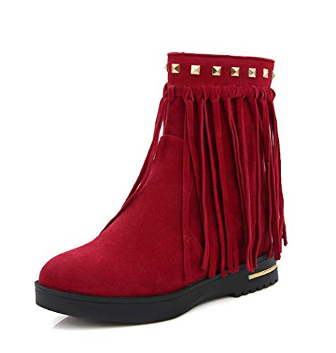 AllhqFashion Women's Zipper Round-Toe Kitten-Heels Frosted Low-Top Boots, FBUXD134107, Red, -