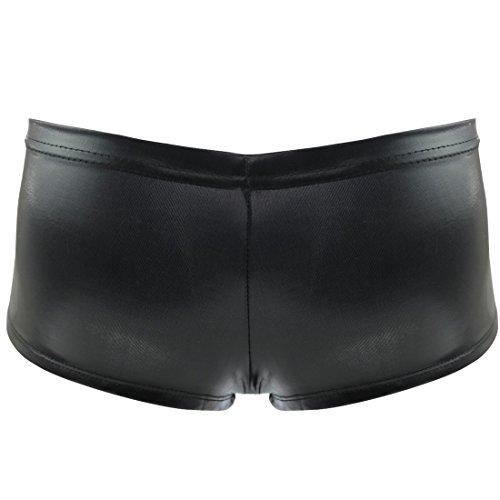 iEFiEL Ropa Interior de Charol Bragas para Mujer Braguitas Pantalones Cortos Lencería Negro