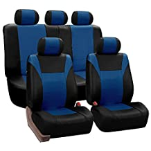 FH Group PU003BLUE115 Blue Racing Style Faux Leather Seat Cover (Full Set Airbag compatible and Split Bench)