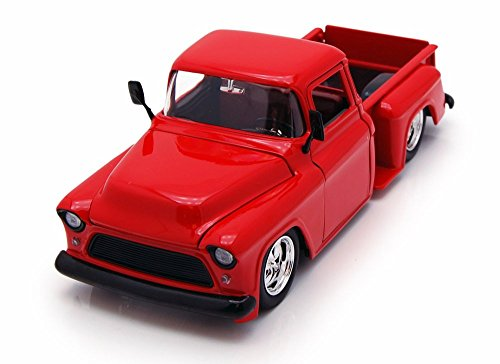 (Jada 1955 Chevy Stepside Pickup, Red Toys 90162 - 1/24 Scale Diecast Model Toy Car, but NO Box)