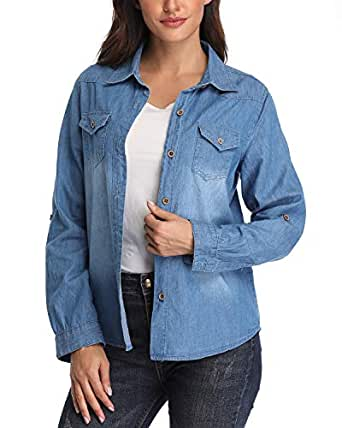 Women's Denim Shirt Rolled Long Sleeve Point Collar Jeans Tops w 2 Chest Flap Packets Blue