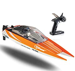Top Race Remote Control Water Speed Boat TR-1100 is a Professional RC Boat with electron speed regulator and servo controller, and far range and low battery signals, with a top speed of 20mph. Equipped with a high power brushless motor and wa...