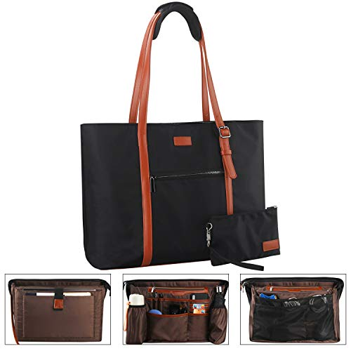 Relavel Laptop Tote Bag for Women Teacher Work Tote Bags with Compartments Fits 15.6 Inch Laptop Business Computer Briefcase School Bag Nylon Waterproof Purses Office Handbags (Brown)