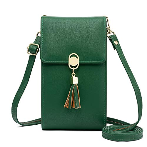 KOFNEKA Small Crossbody Bags Cell Phone Purse Wallet With Credit Card Slots For Women (1Dark green)