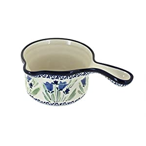 Blue Rose Polish Pottery Blue Tulip Sauce Pot