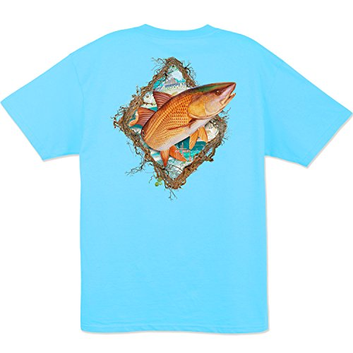 Guy Harvey Redfish Fame S/S Pocket T-Shirt (Small, Pool Blue)