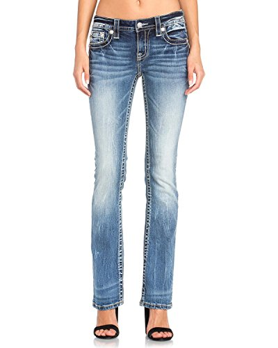 Miss Me Women's Studded Wing Slim Boot Cut Jeans Indigo 31 by Miss Me (Image #2)