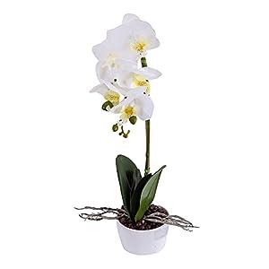 BeautiLife Phaleanopsis Orchid Artificial Flower Arrangement with Vase Decorative Long Stem Silk Fake Flower Bonsai centerpieces Home Wedding Office Decoration 93