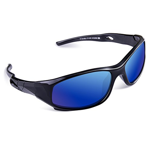 SEEKWAY Kid's Polarized Silicon Rubber Sunglasses For Toddlers Children Age 3-10 SRK816(Black&Black,Blue Iced - Sunglasses Flame Shaped