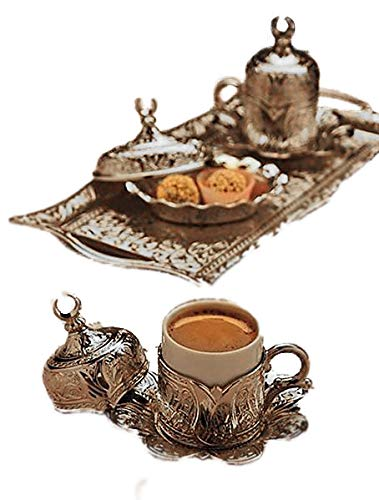 (Gold Case Silver plated Turkish, Arabic, Greek and Espresso Coffee Set for 2 - Made in Turkey - 11 pieced set, Silver)