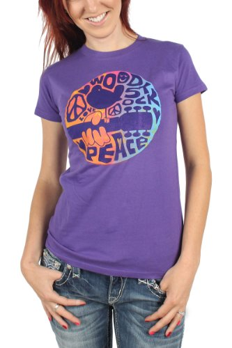 Woodstock - Womens Peace Guitar Logos T-Shirt In Purple, Size: Small, Color: Purple
