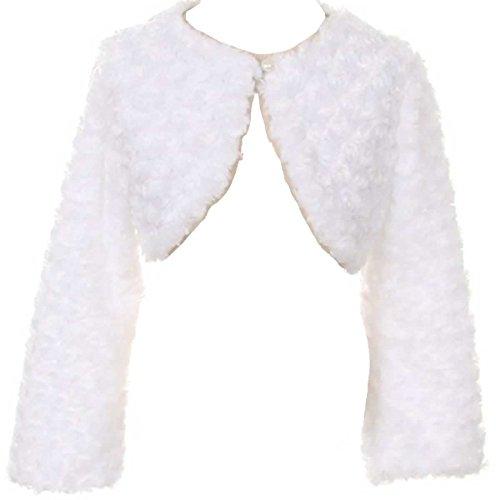 P Dreamer P Little Girls Adorable Faux Fur Pearl Button Bolero Jacket Winter White Size 4