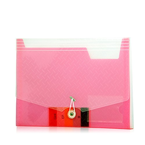 Lightahead LA-7558 Expanding file Folder with 6 pockets Available in Colors Blue, Pink, Green, Black (PINK)