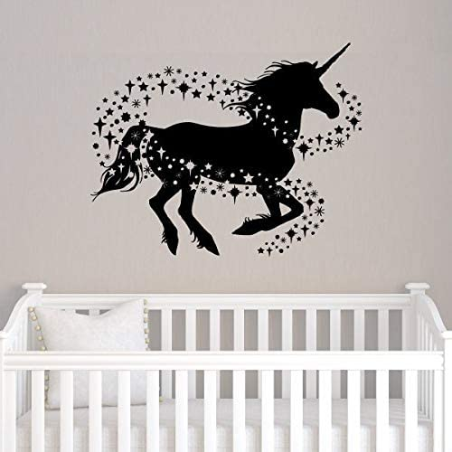 Decor Decals Stickers Vinyl Art Unicorn Wall Art Stickers Quote Girls Kids Bedroom Vinyl Personalised Name Decor Home Garden