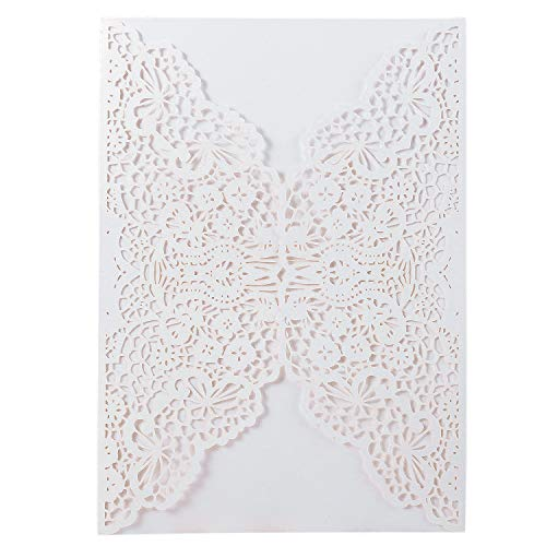 (20pcs Elegant Wedding Invitation Cards Cover Laser Cut Flower Lace Invitation Template Cardstock for Bridal Baby Shower Engagement Birthday Party Graduation)