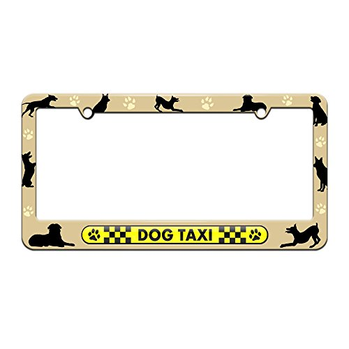 Dog Taxi - Paw Prints Checkered Logo - License Plate Tag Frame - Dog Silhouettes Design