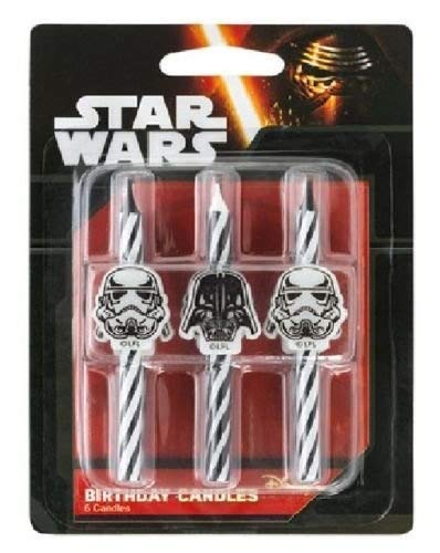 CakeDrake STAR WARS Darth Vader Storm Trooper Striped 6 Birthday Party Cake Topper CANDLES