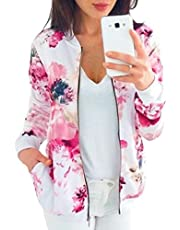 GAGA Women's Classic Floral Print Bomber Jacket Zipper Long Sleeve Short Coat