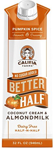 Califia Farms Pumpkin Spice Better Half Coffee Creamer, 32 oz (Pack of 6) | Coconut Cream and Almondmilk | Half & Half | Dairy Free | Plant Based | Nut Milk | Vegan | Cinnamon, Nutmeg & Ginger