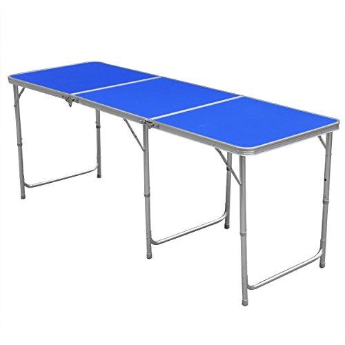 Yahee Falttisch Campingtisch (180x 60cm) höhenverstellbar Tisch 55cm-62cm-70cm (Blue)