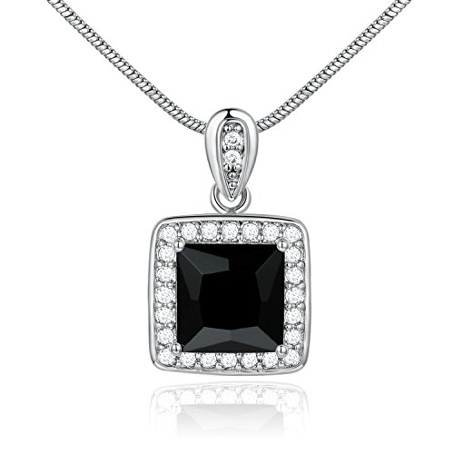 UltraSunday Square Black Crystal Onyx Silver Gold Filled Dangle Pendant Women Lady ()