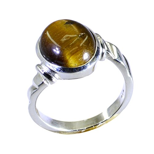 55Carat Real Tiger Eye Sterling Silver Ring For Women Oval Shape Bezel Style Size (Cushion Cut Tigers Eye Ring)