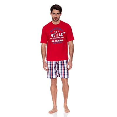 Abanderado - Mens Short Sleeve Pyjamas Set Abanderado 100 Cotton Red Plaid Pants - ROJO, S for sale