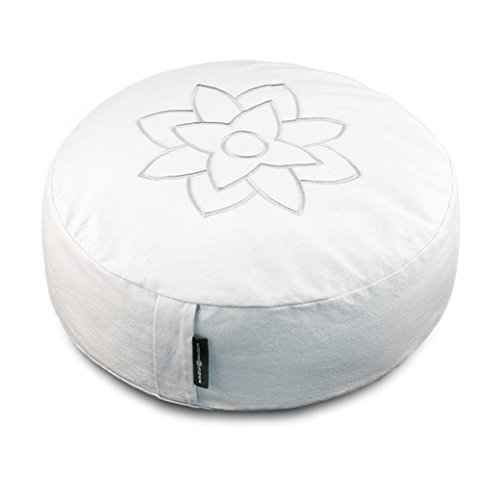 Large White Meditation Pillow Cushion by Mindful and Modern - Zafu Buddhist Yoga Bolster for Best Posture - Buckwheat Hull Filled Round Cushion with Removable Cover and Carry Handle by Mindful & Modern