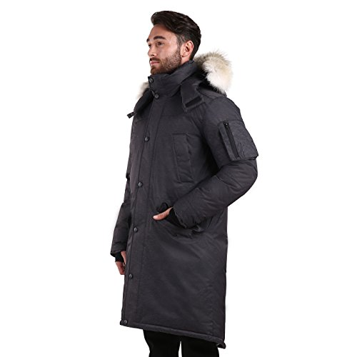 Triple F.A.T. Goose SAGA Collection | Eberly II Mens Hooded Goose Down Jacket Parka with Real Coyote Fur (2XL, Charcoal) by Triple F.A.T. Goose (Image #3)