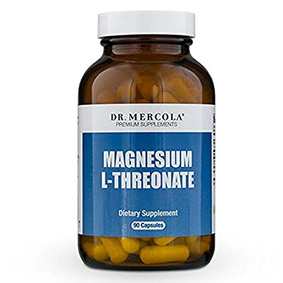 Dr. Mercola Magnesium L-Threonate - 90 Capsules - 2,000 mg Per Serving - Free From Any Genetically Engineered Ingredients