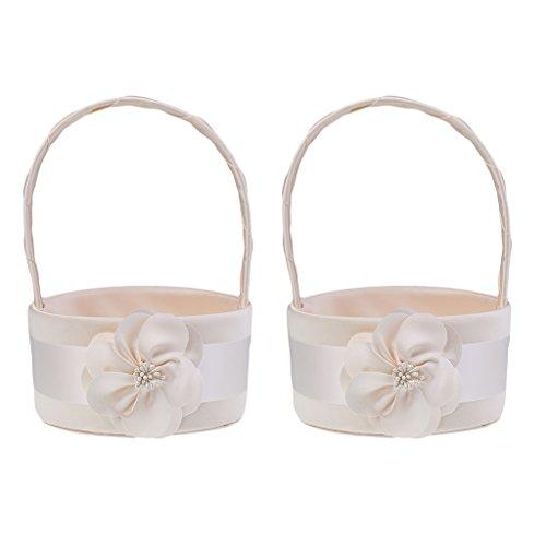 MonkeyJack Pack of 2pcs Delicate Round Champagne Satin Wedding Flower Girl Basket Floral Bridal Petals Basket Decoration by MonkeyJack