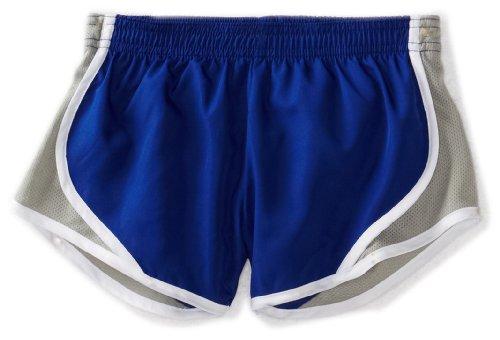 Soffe Big Girls' Team Shorty Short, Royal/Silver, Medium (Blue Cheer Shorts)