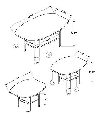 Monarch I 7925P 3 Piece Table Set, Grey