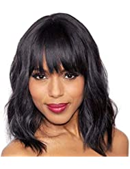 Elegant Off balck Wig With Bangs, 14 inches Short Curly Hair Womens Wigs , Charming Natural Wavy Hair Wigs (Off black)