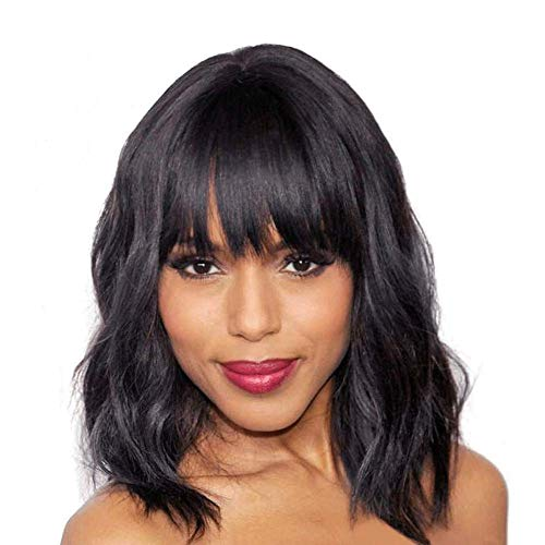 Elegant Off Black Wig With Bangs Bob Short Curly Wigs for Women Charming Natural Wavy Wigs for Black Women Bangs Wigs…