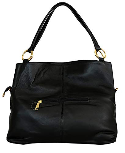 GENUINE LAMB LEATHER 1ST GRADE HANDMADE DESIGNER HOBO HANDBAG FOR LADIES Not made in China (BLACK)