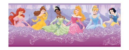 York Wallcoverings Disney - Cenefa de princesa perfecta para niños, Border, púrpura (Purple .27)
