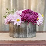 "Rustic Tin Vase, Corrugated Sides, 4 x 7.25"", Galvanized Metal"
