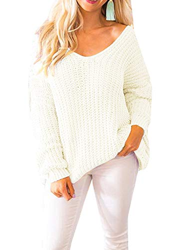 Womens Sweaters Oversized V Neck Off Shoulder Long Sleeve Cable Knit Pullover Sweater Tunic Tops (Large, White)