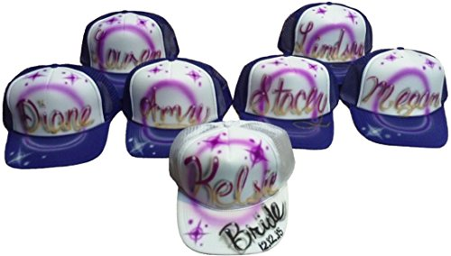 [Airbrushed Lot of 7 Bachelorette Party Hat Design] (Airbrushed Trucker Hat)