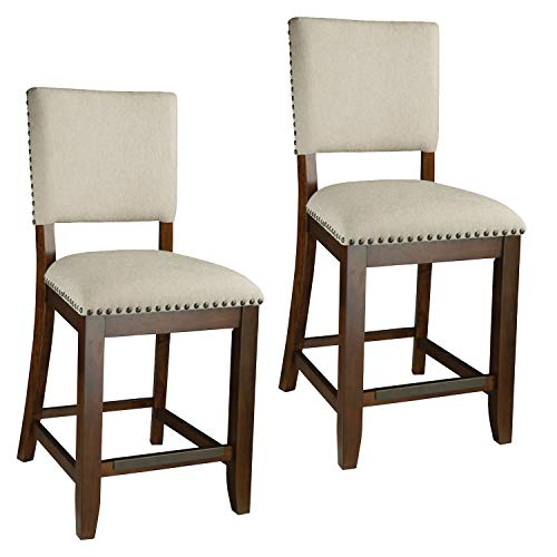 Standard Furniture Omaha 2-Pack with Upholstered Seat, Saddle Brown
