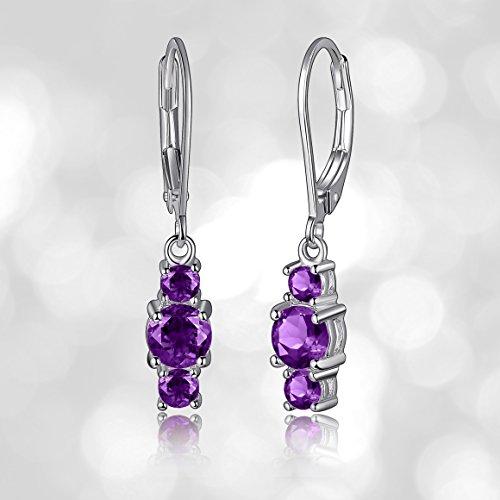 Sterling Silver Genuine and Created Gemstone Three Stone Birthstone Leverback Dangle Earrings