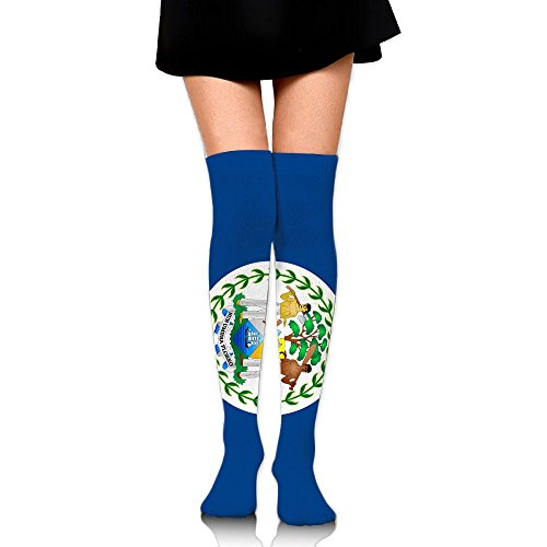 National Flag Of Belize Cotton Compression Socks For Women. Graduated Stockings For Nurses, Maternity, Travel, Flight, Pregnancy, Varicose Veins,Running & Fitness, Calf Support.