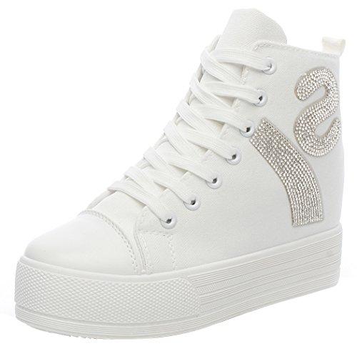 T&Mates Unique Zipper and Rhinestone Fashion Style Canvas High-top Women's Shoes(7.5 B(M) US, White)