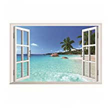 SODIAL(R) Removable 3D Window Scenery Wall Sticker home Decor Decals Mural Decal Exotic Beach View£¨beach£©