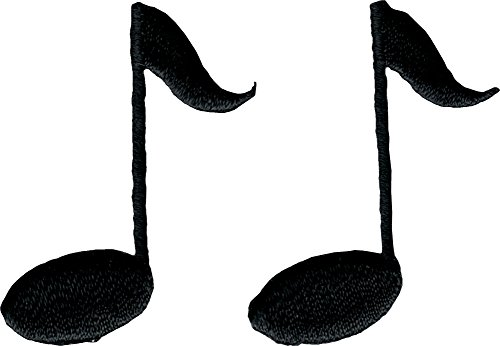 Music Notes - Black SET OF 2 ! - Embroidered Sew or Iron on Patch