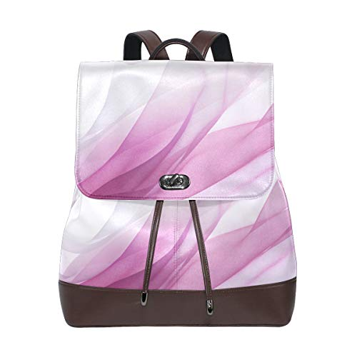 Leather Backpack Pink Chiffon Curve Wave Travel School Rucksack for Boys Girls